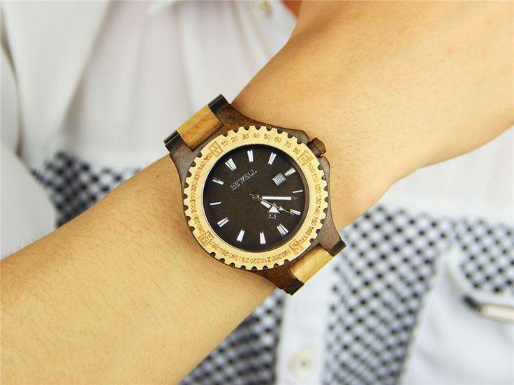BEWELL Wood Watch for men Fashion Simple Quartz Movement Calendar Sandalwood Wristwatches