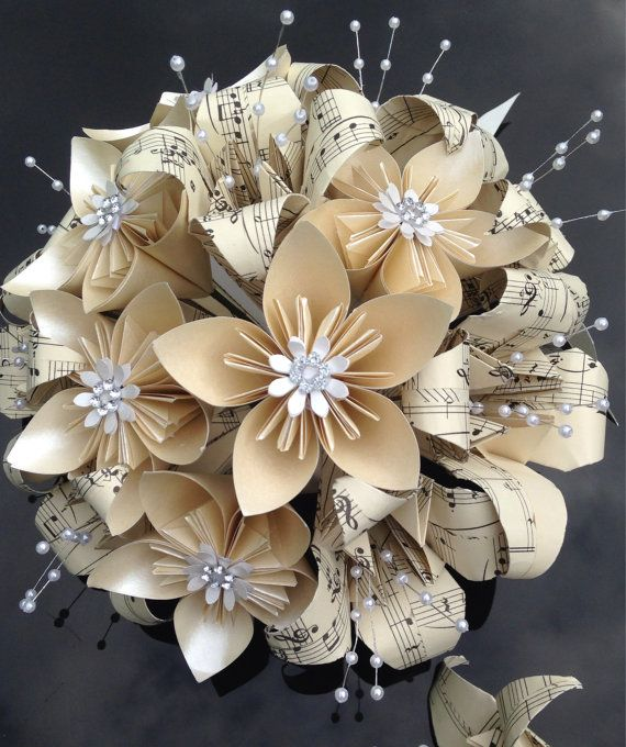 Handmade paper flower bridal bouquet and grooms buttonhole made from genuine vintage music paper and pearlised paper in neutral colours,