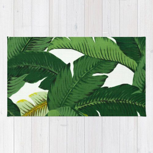Palm Leaf area rug 2x3 rug banana leaves rug 3x5 rug 4x6 area rug palm leaf print throw rug palm tree decor beach tropical rug living dining