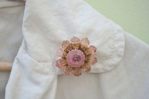 Vintage Austrian Crystal Tear Drop Pink Flower by talkOfThetown, $32.00
