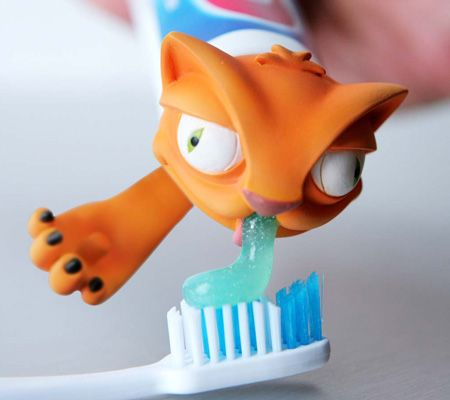 Toothpaste is way more fun when it's being squirted out by a cat, am I right?  No? Your kids will think so!