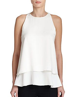 Theory Falice Silk Double-Tiered Top