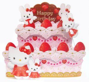 Pop up 3d Decorative Greeting Card - Hello Kitty Birthday Cake - by Sanrio. $8.99. Wish someone a Happy Birthday when you give this deliciously strawberry cake with sparkling heart shaped jewels and gold accents that decorate the layers from Miss Girlie Girl. Every Hello Kitty admirer will be delighted when they receive this gorgeous pop up 3d greeting card which features Hello Kitty and best friend Cathy together wearing a sparkling red dress with bow to match. You'll never fi...