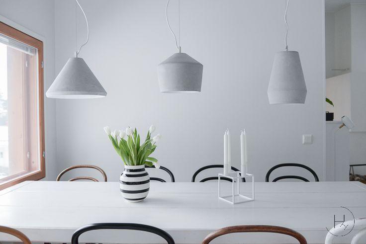 Corner Concrete lamps above a kitchen table @Heinässä heiluvassa