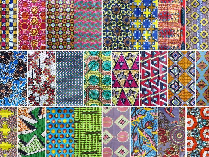 échantillon au choix * tissu wax africain * divers motifs : Tissus à thème par bouts-de-motifs