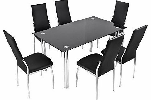 BTM Luxury Black Glass Dining Table Set with 6 Faux Leather Chairs Chrome High Quanlity Cheap Dining Tab This listing is for a clear glass dining table with a black undershelf with 6 faux leather chairs. The table legs have a matching faux leather finish to complement the fa (Barcode EAN = 4000207009697) http://www.comparestoreprices.co.uk/leather-dining-chair/btm-luxury-black-glass-dining-table-set-with-6-faux-leather-chairs-chrome-high-quanlity-cheap-dining-tab.asp