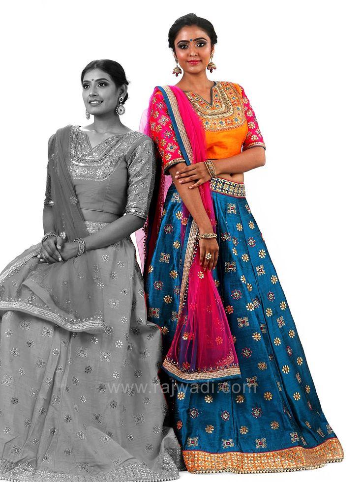 Wedding Raw Silk Choli Suit with Shaded Dupatta #rajwadi #cholisuit #readycholi #lehengas #embroidered #FeelRoyal #bridal #colorful