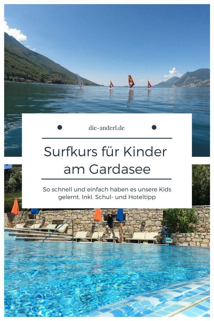 Surfkurs für die Kinder und Mama und Papa am Gardasee. Wir haben es ausprobiert. Hier findest Du unseren Erfahrungsbericht und Tipps  #segeln #surfen #gardasee #surfkurs #surfen #lebenmitkindern #surfenlernen