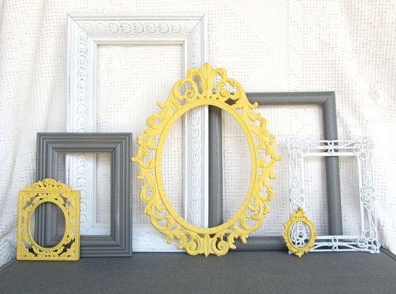 Yellow, Grey White  Ornate Vinatge Open Frames Set of 7 - Upcycled Frames Modern  Bedroom Decor***my room