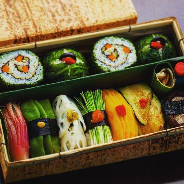 Nigirizushi and Futomaki (thick sushi rolls) bento box.