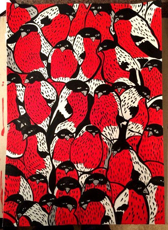 снегери, акрил, бумага , А3 birds, acrylic, paper, of А3