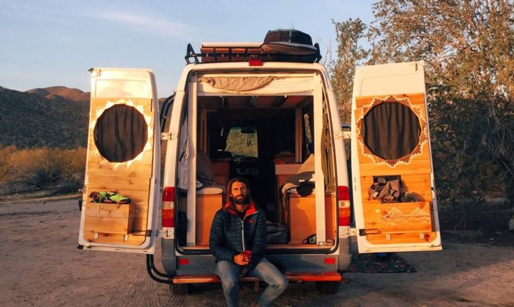The traveling duo parks the converted van in various places while on the road such as local campgrounds, national forest lands, and, of course, the always popular Walmart parking lots.