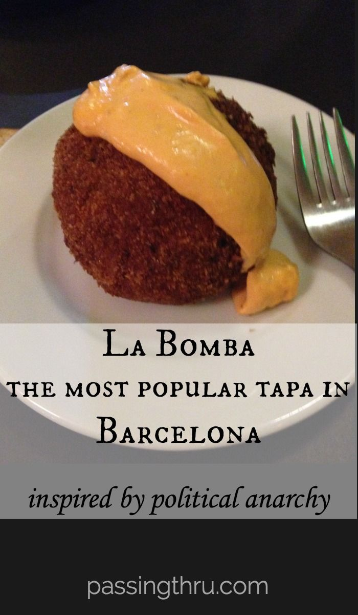 La Bomba tapas - a delicious tradition in Barcelona, inspired by political anarchy. Read more: http://passingthru.com/2015/05/la-bomba-tapas-and-barcelona-anarchists/