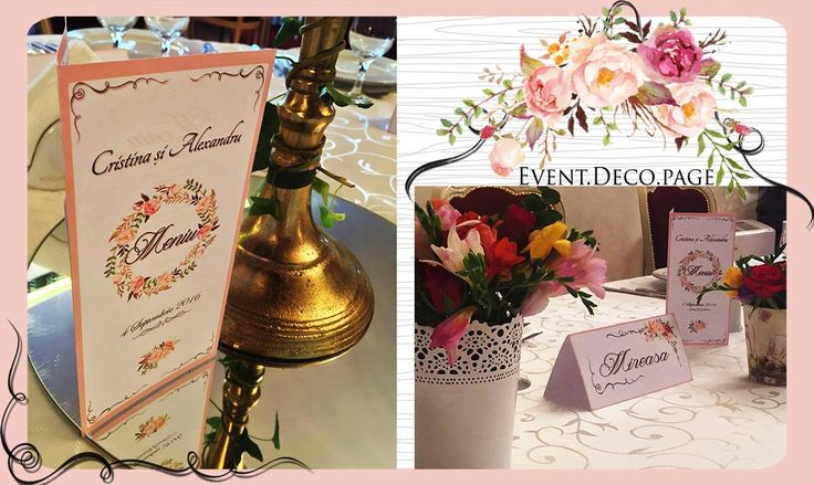Wedding menu & Wedding card by Event Deco. Find us on Facebook, Event.Deco.page!