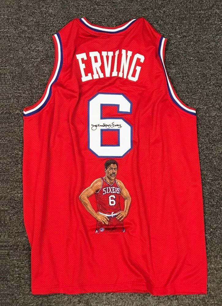 73d6a5f7ad6 Julius Erving Dr J Signed 76ers Hand Painted Art Jersey AUTO JSA WITNESSED  COA