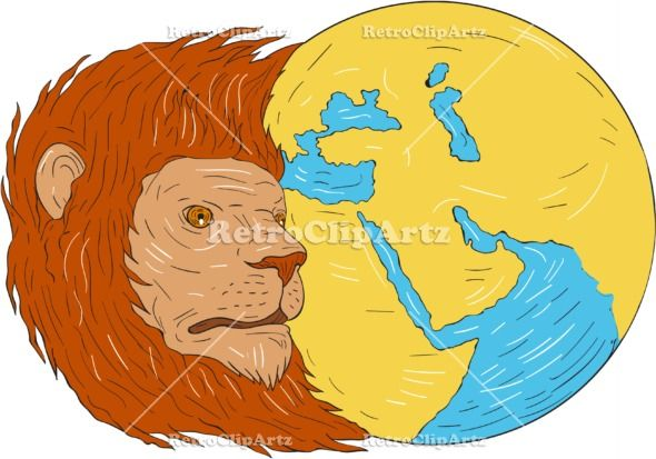 Lion Head Middle East Asia Map Globe Drawing Vector Stock Illustration.  Drawing sketch style illustration of a lion head with flowing mane looking to the side with middle east and asia map globe set on isolated white background. #illustration   #LionHeadMiddleEastAsiaMap
