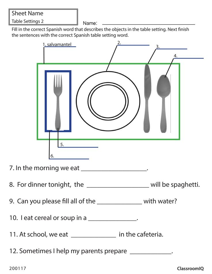 Spanish table setting worksheet spanishworksheets for Table in spanish