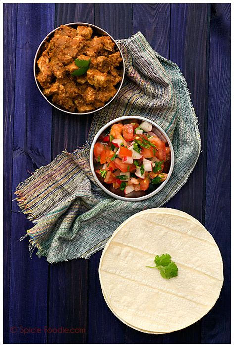 Three Years Later, And Pork Tacos In Red Indian Chile SauceIndian Mexicans, Chile Sauces, Mexicans Fusion, Mexicans Food, Indian Chile, Fusion Tacos, Corn Tortillas, Foodies Blog, Spicy Foodies