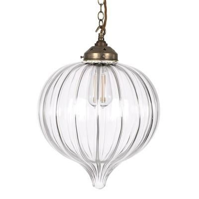 Orla Glass Pendant Light in Antiqued Brass
