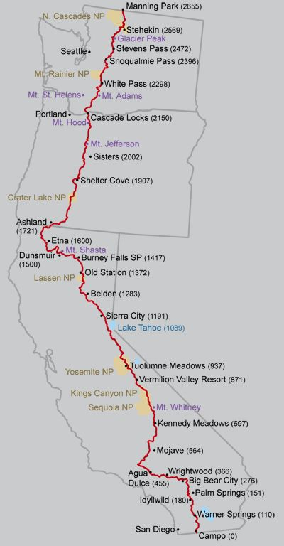 The Pacific Crest Trail (PCT) extends 2650 miles from Mexico to Canada. It follows the crests of the mountain ranges in California, Oregon, and Washington, crossing 27 National Forests and 7 Nation...