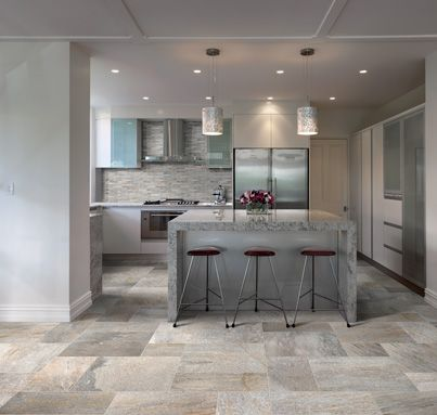 A light, bright & beautiful kitchen the whole family can enjoy. Featuring Impronta Italgraniti Porcelain Tiles. Series: Stone D Quartzite, Colour: Di Barge. Exclusive to Elegance Tiles.