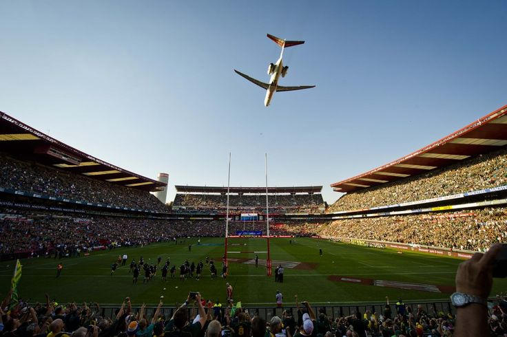 FLYOVER: A plane flew over Ellis Park Stadium before the Rugby Championship match between South Africa and New Zealand in Johannesburg, Sout...