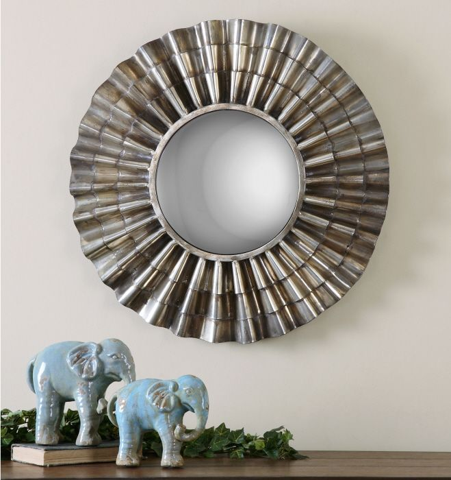 frame is hand forged scalloped metal finished in an oxidized nickel plating with light burnishing and an antiqued convex mirror - Uttermost Mirrors