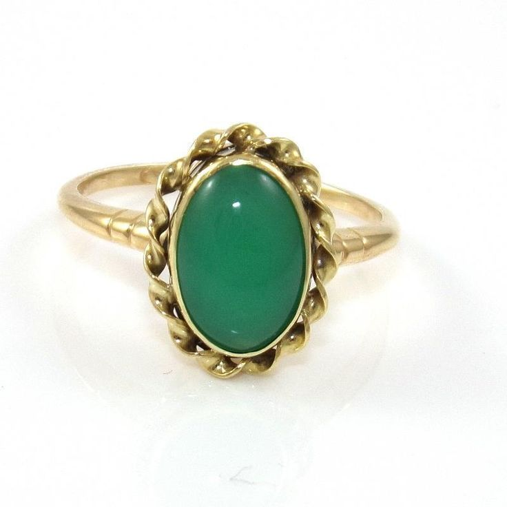 Solid 14K Yellow Gold Vintage Estate Green Onyx Jade Twisted Halo Ring Size 9.75 #Band