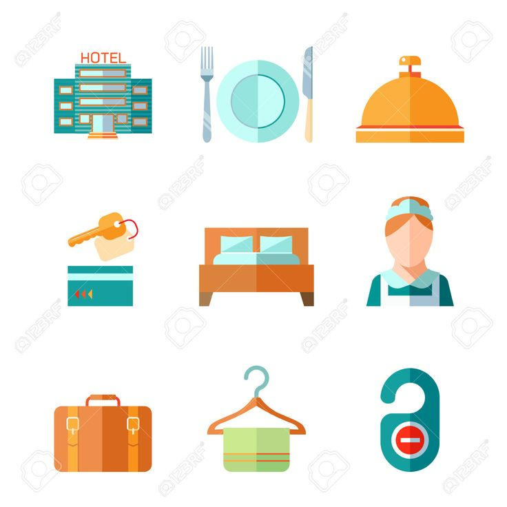 29971825-Set-of-hotel-bell-key-bed-luggage-chambermaid-icons-in-flat-color-style-vector-illustration-Stock-Vector.jpg (1299×1300)