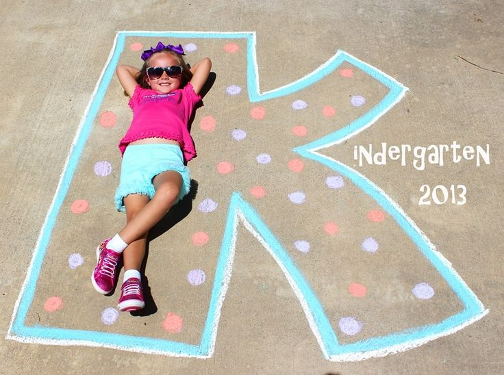 First day of Kindergarten picture. First day of school. Drew out the K with…