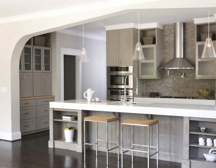 kitchens  weather oak, kitchen island, taupe, gray, shaker, kitchen