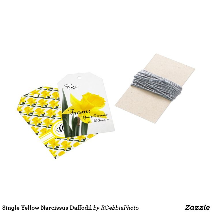 Single Yellow Narcissus Daffodil Gift Tags - $11.95 per 10 - Single Yellow Narcissus Daffodil Gift Tags - by #RGebbiePhoto @ #zazzle - #Daffodil #Yellow #Flowers - Add your text or clear to leave blank spots on these cute yellow daffodil flower themed gift tags. Initial spot on the back of the tag with smaller tiled images of the flower on the back. A vibrant yellow narcissus daffodil over white. Personalize this line with customizable text! Add Your Name to customize!