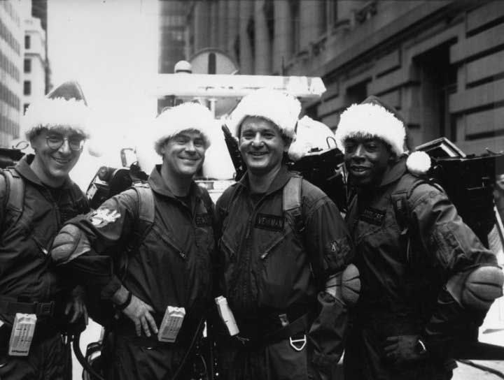 Harold Ramis, Dan Aykroyd, Bill Murray and Ernie Hudson on the set of Ghostbusters II.
