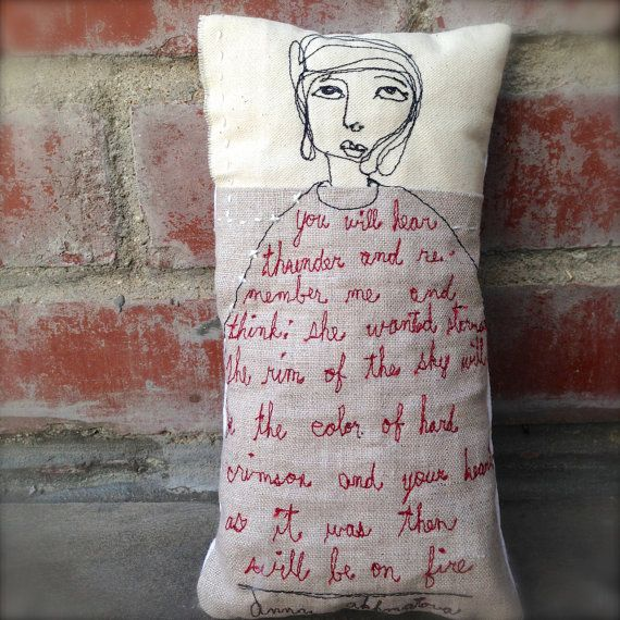 Free motion stitched art doll pillow by jennydoh on Etsy