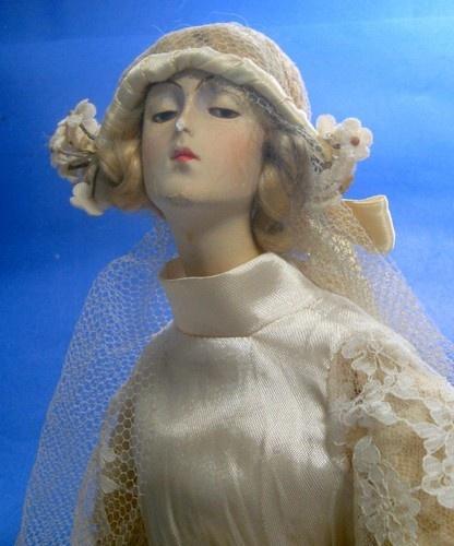 "1920's~French BOUDOIR ""Gibson Girl"" BRIDE DOLL Chalkware"