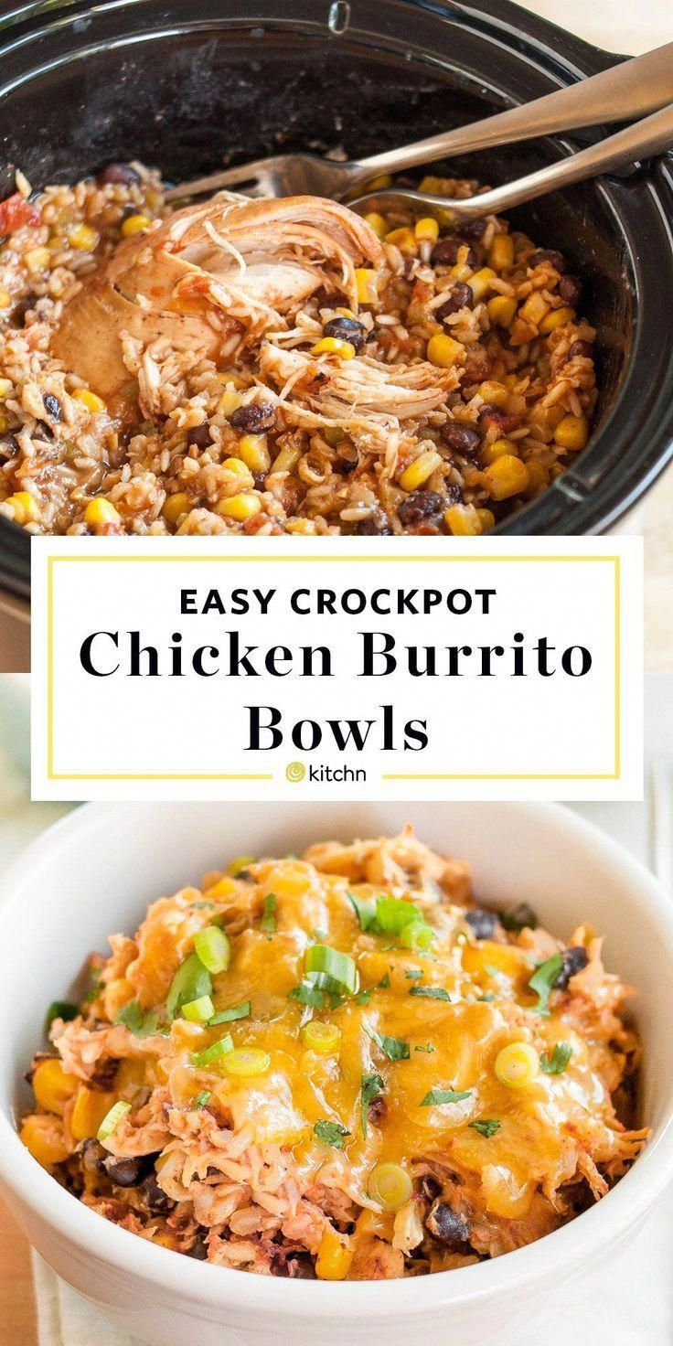 Slow-Cooker Chicken Burrito Bowls Recipe. This EASY crockpot chicken dinner is s…