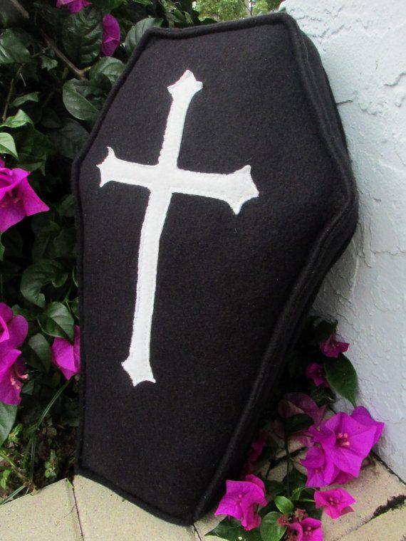 Black Fleece Coffin Pillow with White Cross Design Goth Soopky Great For Halloween