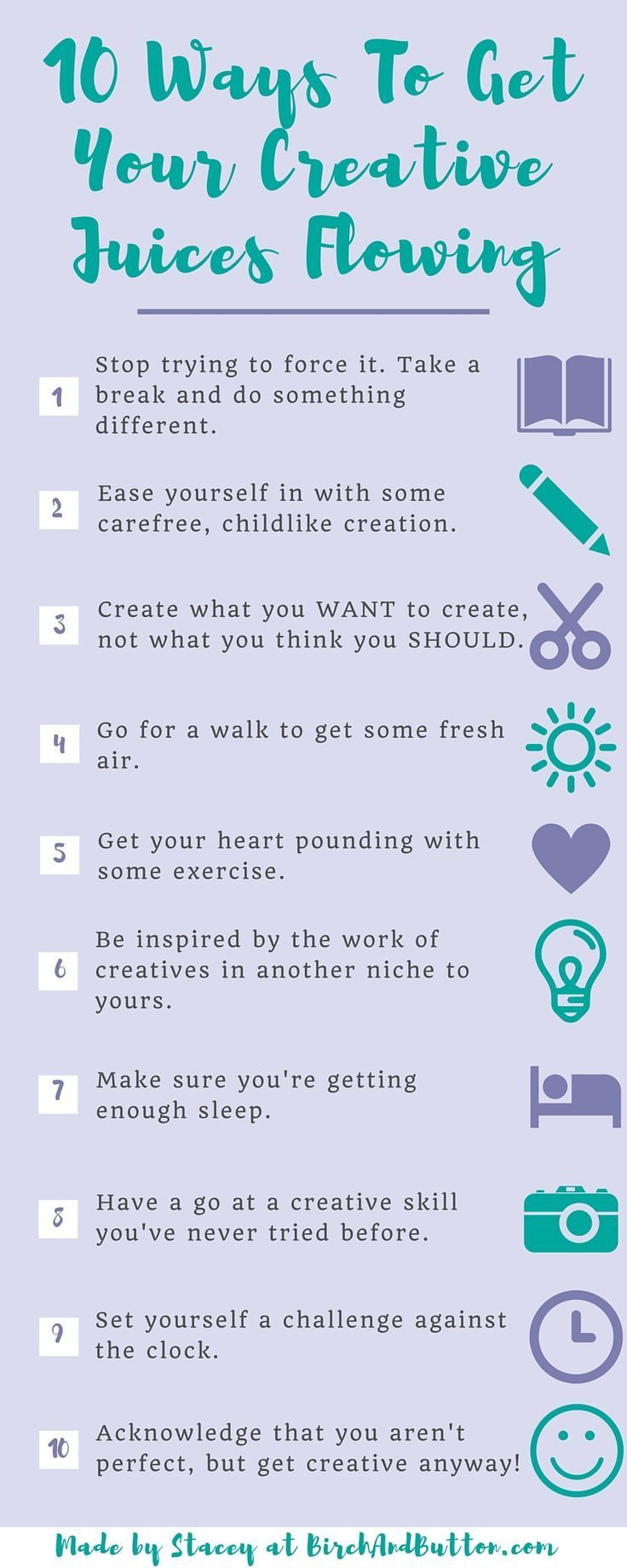 If you're suffering from a block in your creativity, click through to find out more about these ten ways to get your creative juices flowing again!