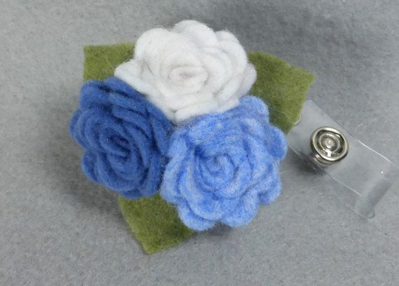 Blue Flower ID Badge Reel Zipper Name Holder Upcycled Recycled