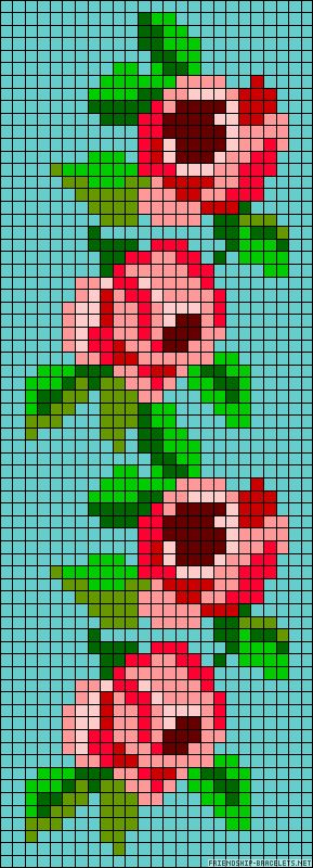 Border, or chain of roses chart for cross stitch, knitting, knotting, beading, weaving, pixel art, and other crafting projects.