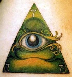 Green pyramid with eye tattoo