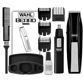 Wahl 5537-1801 Cordless Battery Operated Beard Trimmer with Bonus Ear, Nose and Brow Trimmer        The Wahl Beard Trimmer kit has everything you need to tighten up your beard, mustache, goatee, and neckline. With high-carbon steel blades that stay sharp, you'll get a precise trim the first time and every time. Also included is a bonus personal trimmer for trimming hair in the ear, nose and brows.   .caption { fon...  http://www.amazon.com/dp/B0015KHMRS/?tag=pintr100-20