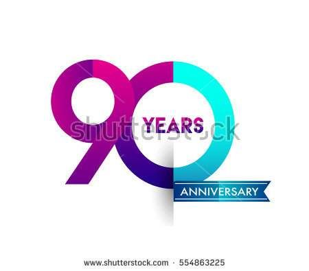 ninety years anniversary celebration logotype colorfull design with blue ribbon, 90th birthday logo on white background
