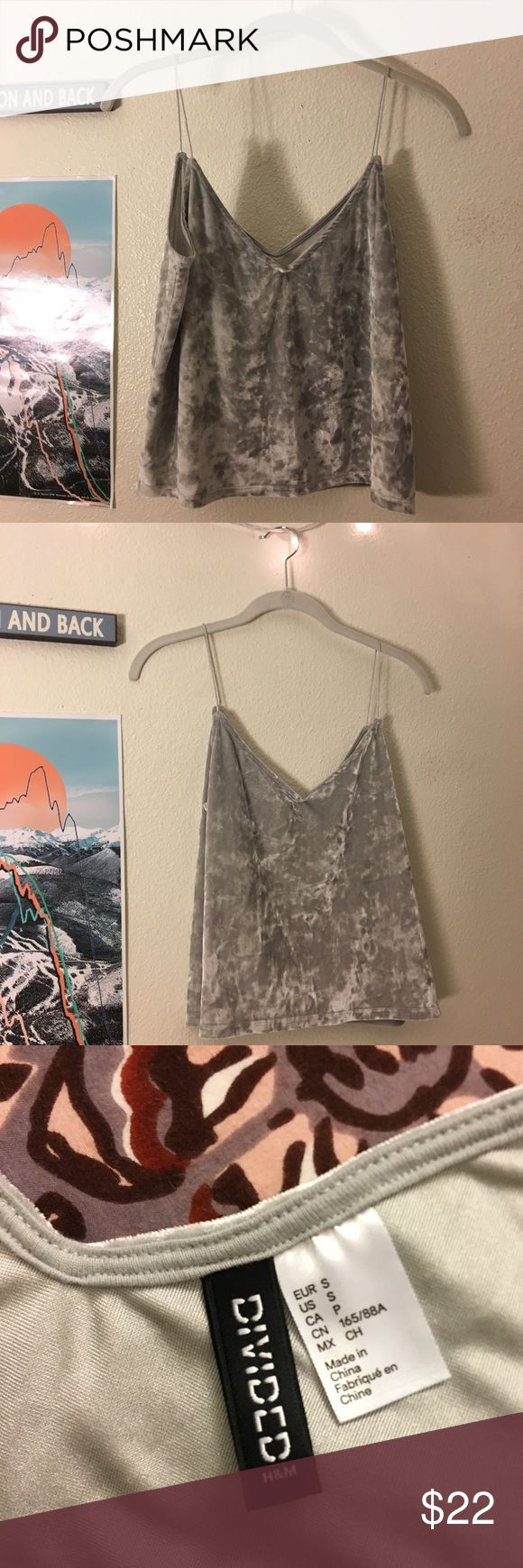 Silver crushed velvet top Sexy tank top, soft crushed velvet in trendy silver. Only worn once! H&M Tops Tank Tops