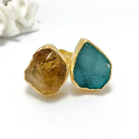 Rough Citrine and Blue Druzy Agate Ring, Handmade Ring with Natural Gemstones, Sterling Silver, Fine Silver Bezel, Gold Plated