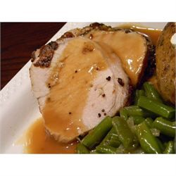 Roasted Loin of Pork with Pan Gravy - delicious and easy but didn't have any drippings to make gravy like it said I would?