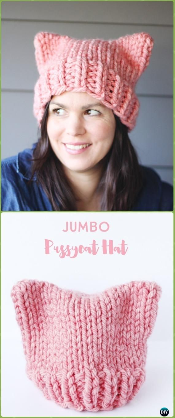 Knit Jumbo Pussycat Hat Free Pattern - Fun Kitty Cat Hat Free Knitting  Patterns 86f7bbf96d4