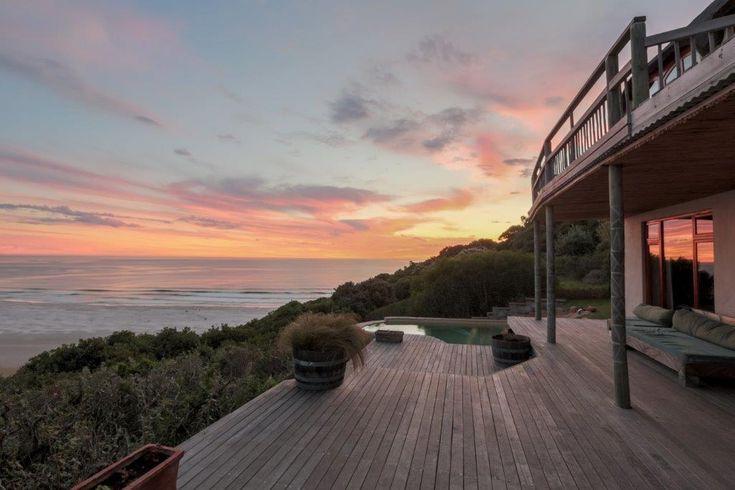 Monkey Valley Resort Crowned Eagle Lodge at sunset over Noordhoek beach