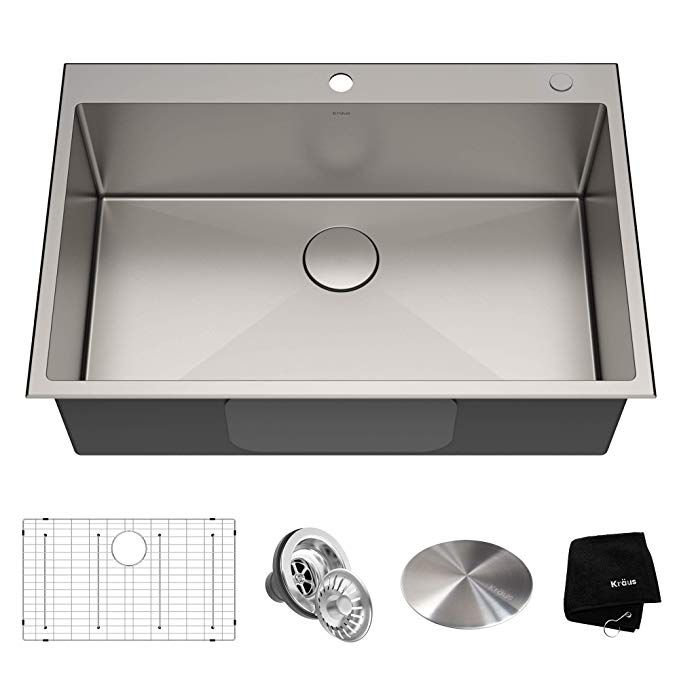 Kraus Kht300 33 Standart Pro Kitchen Stainless Steel Sink 33 Inch Single Bowl Drop In Kitchen Sink Stainless Steel Kitchen Sink Sink
