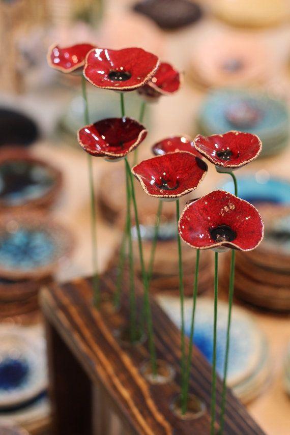 Red flowers Housewarming gift Flowers centerpiece Flowers decorations Ceramic flowers Spring decor